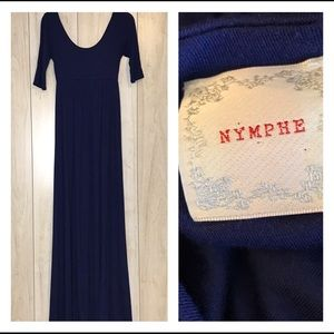 Nymphe Navy Blue Long Empire Waist Maxi Dress
